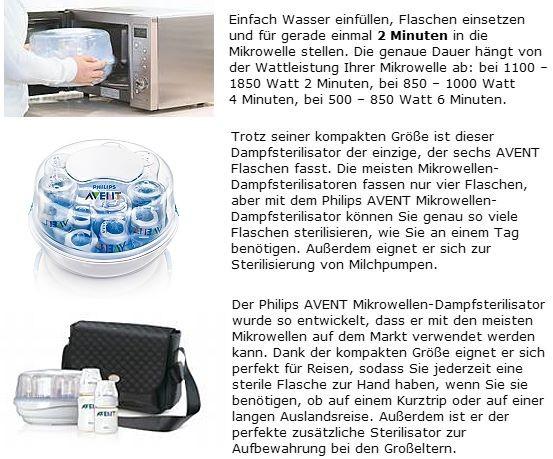 PHILIPS AVENT SCF271/51 Mikrowellen-Dampf-Sterilisator +Korb +Flasche +Zange NEU
