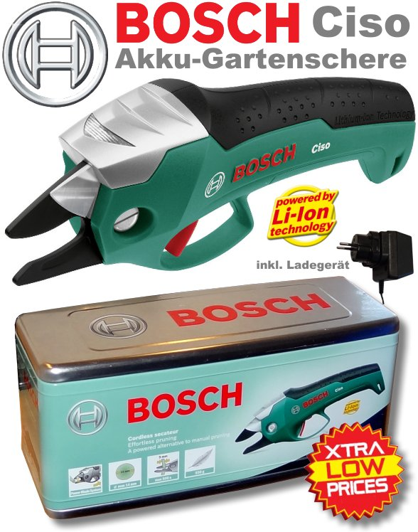 bosch ciso akku gartenschere astschere lithium ionen inkl ladeger t box ebay. Black Bedroom Furniture Sets. Home Design Ideas