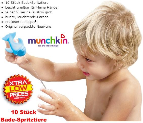 MUNCHKIN: Bade-Spritztiere (10 Stück) Baby/Kinder-Badespielzeug/Spritztier/Wanne