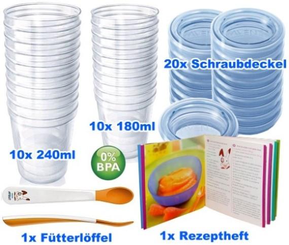 Philips AVENT: SCF720/10 VIA 42-tlg. Set Aufbewahrungssystem/20 Becher/Brei/Baby