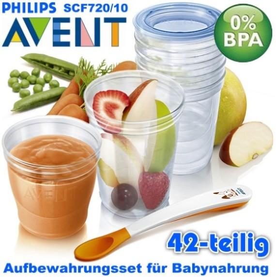 Philips-AVENT-SCF720-10-VIA-42-tlg-Set-Aufbewahrungssystem-20-Becher-Brei-Baby