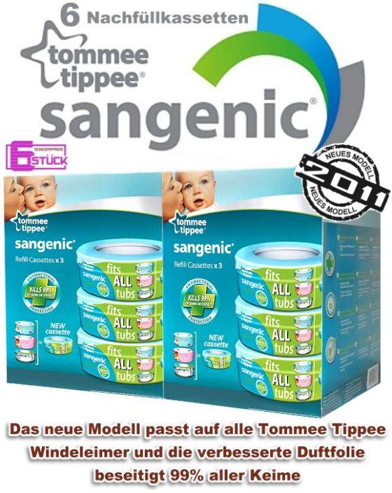 TOMMEE-TIPPEE-SANGENIC-Nachfuellkassetten-6-STUCK-fuer-Windeltwister-Windeleimer