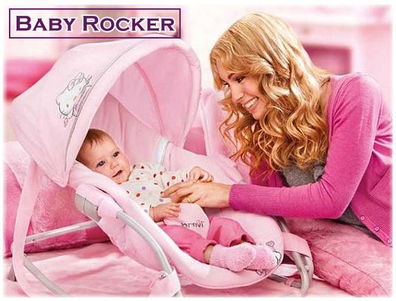 brevi baby rocker babywippe hello kitty baby schaukel wippe liegestuhl rosa ebay. Black Bedroom Furniture Sets. Home Design Ideas