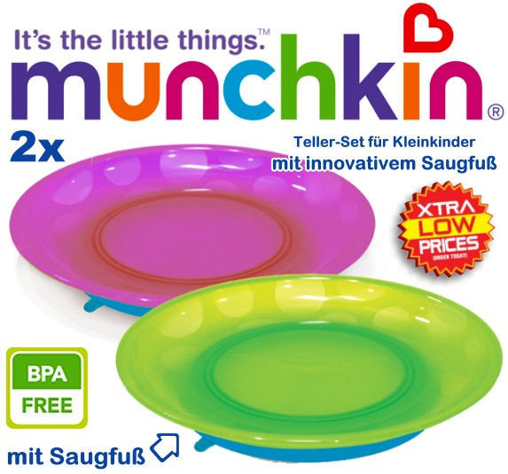 munchkin 2x kindertelller mit saugfu gr n rosa baby teller essen lernen set ebay. Black Bedroom Furniture Sets. Home Design Ideas