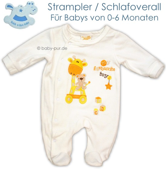 rock a bye baby baby strampler schlafoverall wei mit appikationen ebay. Black Bedroom Furniture Sets. Home Design Ideas
