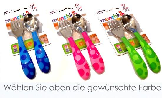 MUNCHKIN: Fütter- und Lern-Besteck für Baby/Kleinkind (Löffel und Gabel) NEU