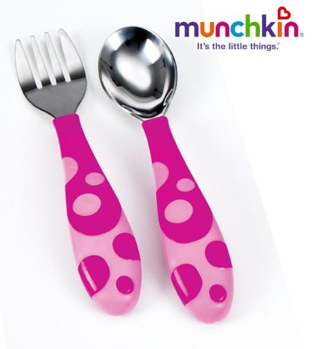 Munchkin-Alimentame-y-de-aprendizaje-para-cubiertos-Baby-nino-pequeno-cuchara-y-tenedor-nuevo