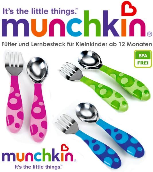MUNCHKIN-Futter-und-Lern-Besteck-fur-Baby-Kleinkind-Loffel-und-Gabel-NEU
