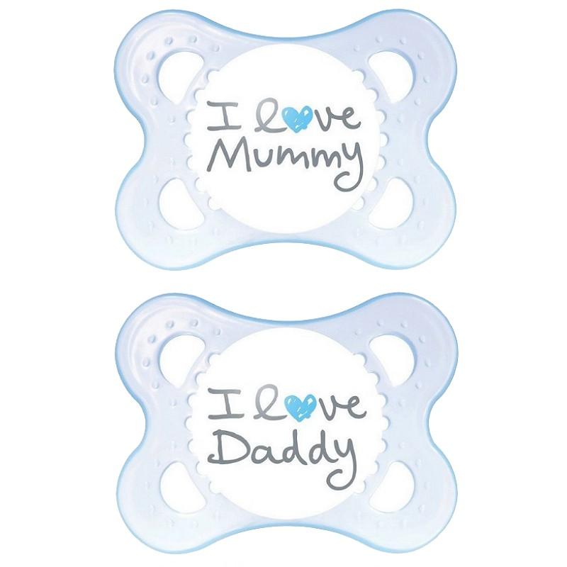 MAM-2-Schnuller-I-Love-Daddy-I-Love-Mummy-0-6-6-12-Monate-rosa-blau-Neu