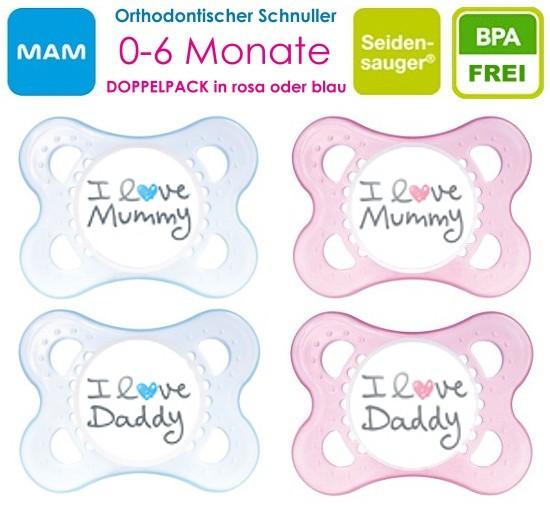 MAM: 2 Schnuller I Love Daddy + I Love Mummy (0-6 + 6-12 Monate/rosa+blau/Neu