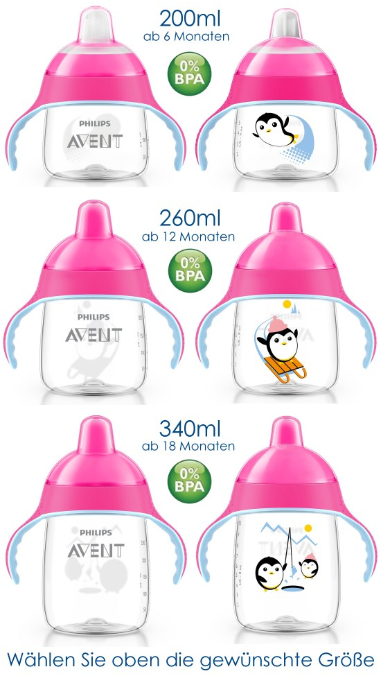 philips avent premium lernflasche rosa 200 260 340ml becher baby flasche griff ebay. Black Bedroom Furniture Sets. Home Design Ideas