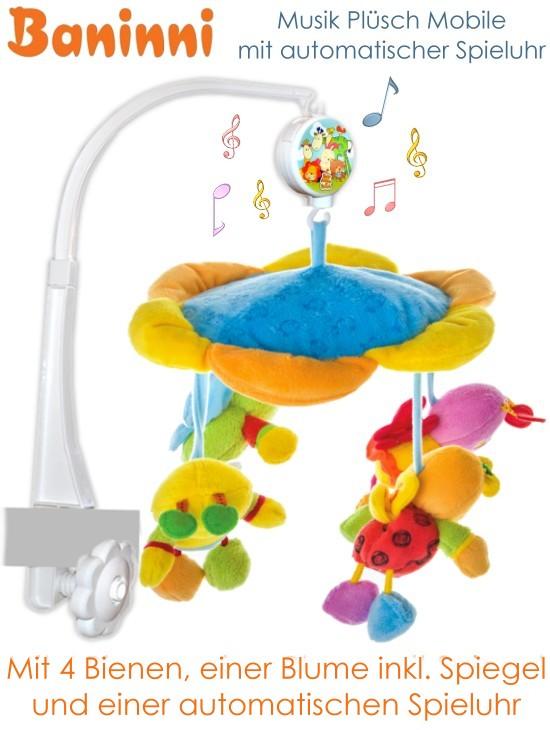 baninni baby mobile musikmobile f r kinderbett mit spieluhr und spiegel neu ebay. Black Bedroom Furniture Sets. Home Design Ideas