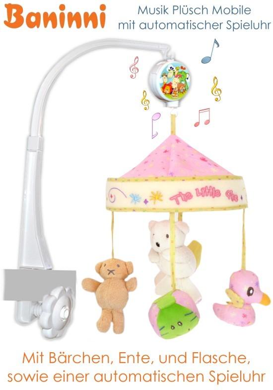 baninni baby mobile musikmobile f r kinderbett mit spieluhr und pl schtier neu ebay. Black Bedroom Furniture Sets. Home Design Ideas
