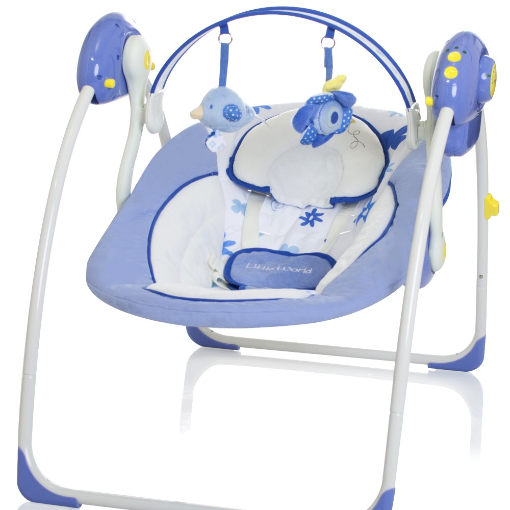elektrische babyschaukel automatik baby schaukel wiege liege little world blau ebay. Black Bedroom Furniture Sets. Home Design Ideas
