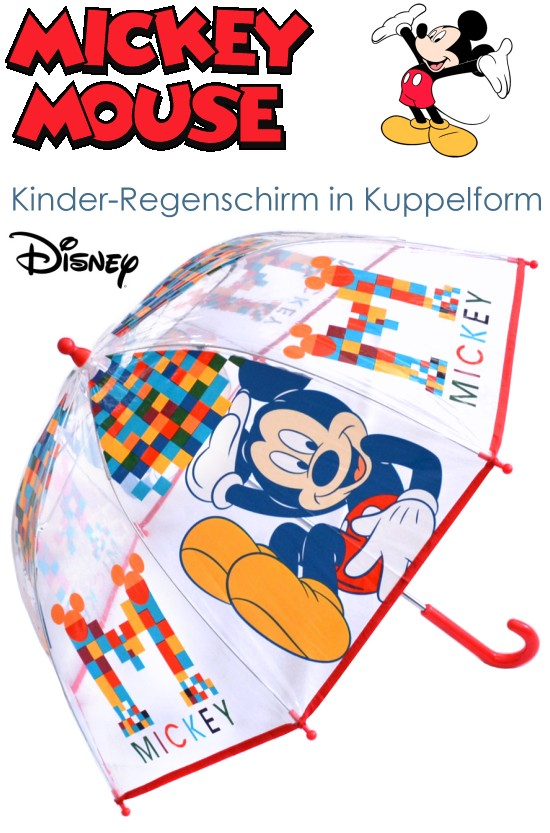 disney kinder regenschirm mickey mouse rot transparent micky maus 71x64 neu ebay. Black Bedroom Furniture Sets. Home Design Ideas