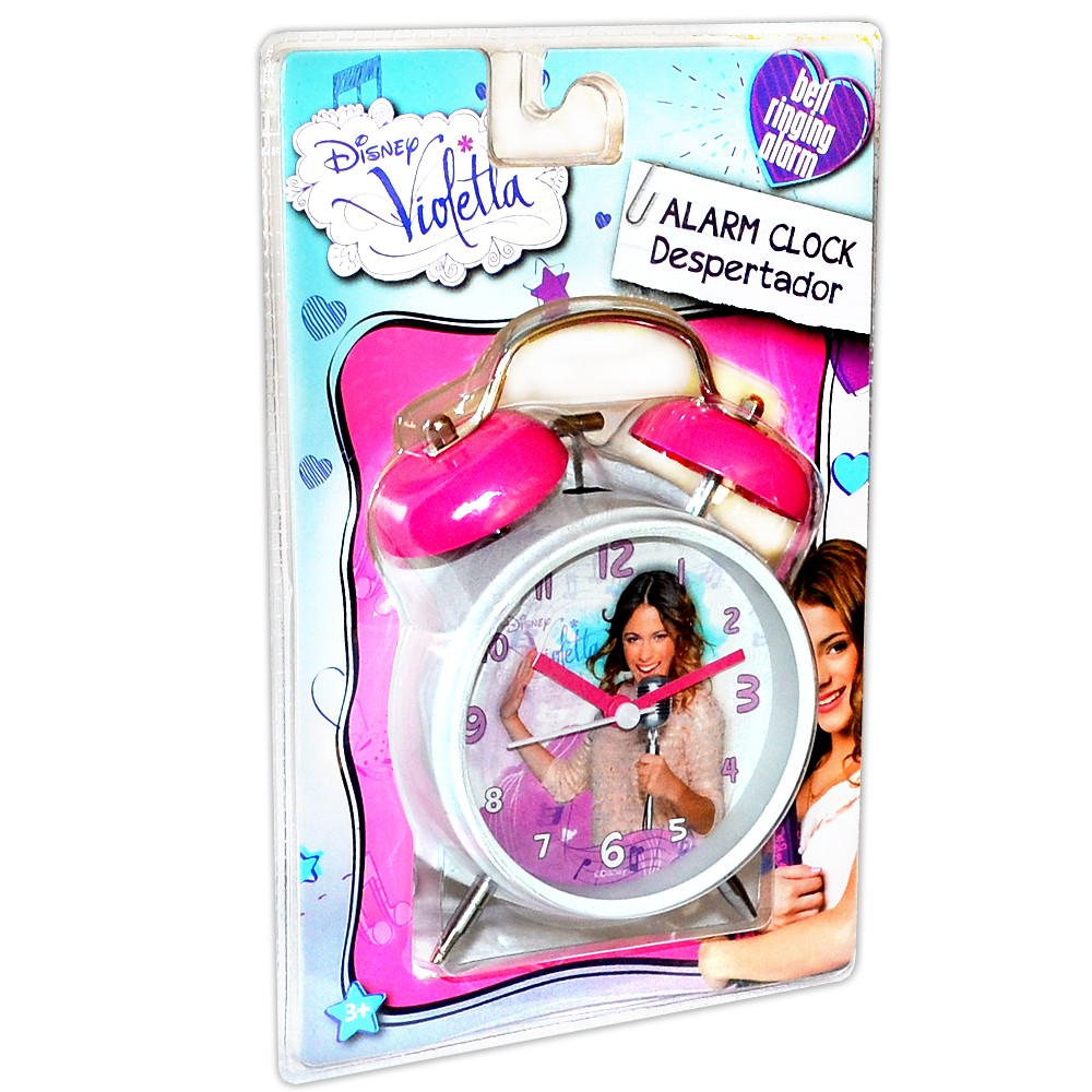 disney violetta kinder wecker 16cm metall mit beleuchtung glocken kinderuhr neu ebay. Black Bedroom Furniture Sets. Home Design Ideas