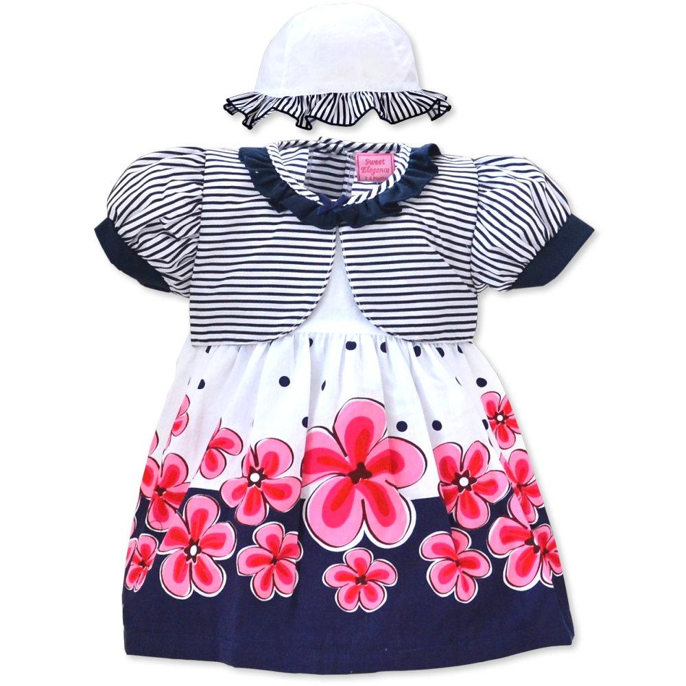 Babykleid Kinderkleid 3-teiliges Set mit Hut und Windelhose 3-18 ...