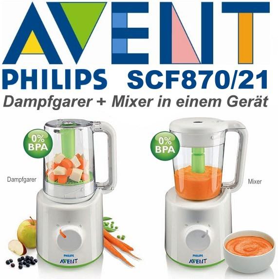 PHILIPS Avent SCF870/20/21 2in1 Kombinierter Dampfgarer und Mixer