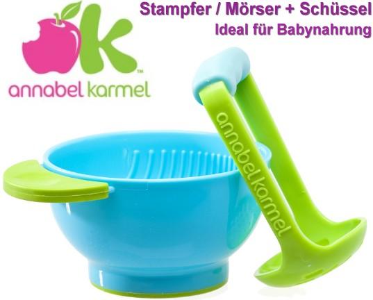 Annabel Karmel: Food Masher + Bowl (Stampfer/Mörser+Schüssel)