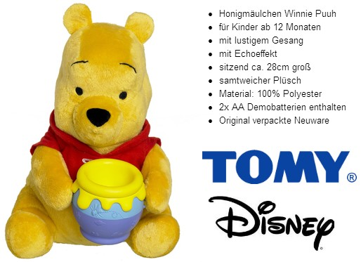 TOMY: Winnie Puuh - Honigmäulchen (Singbär mit Honigtopf)
