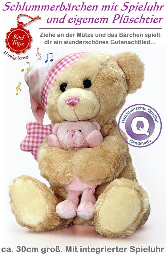 Keel Toys: Schlummerbär mit Spieluhr (rosa)