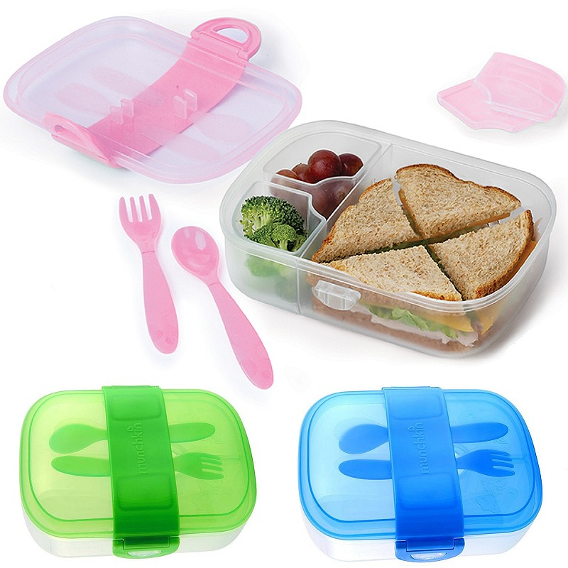 munchkin lunchbox brotdose mit besteck bento brotbox click lock kita krippe ebay. Black Bedroom Furniture Sets. Home Design Ideas