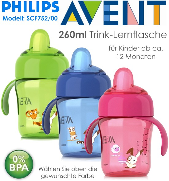 philips avent lernflasche trinkbecher mit trinkschnabel 260ml. Black Bedroom Furniture Sets. Home Design Ideas