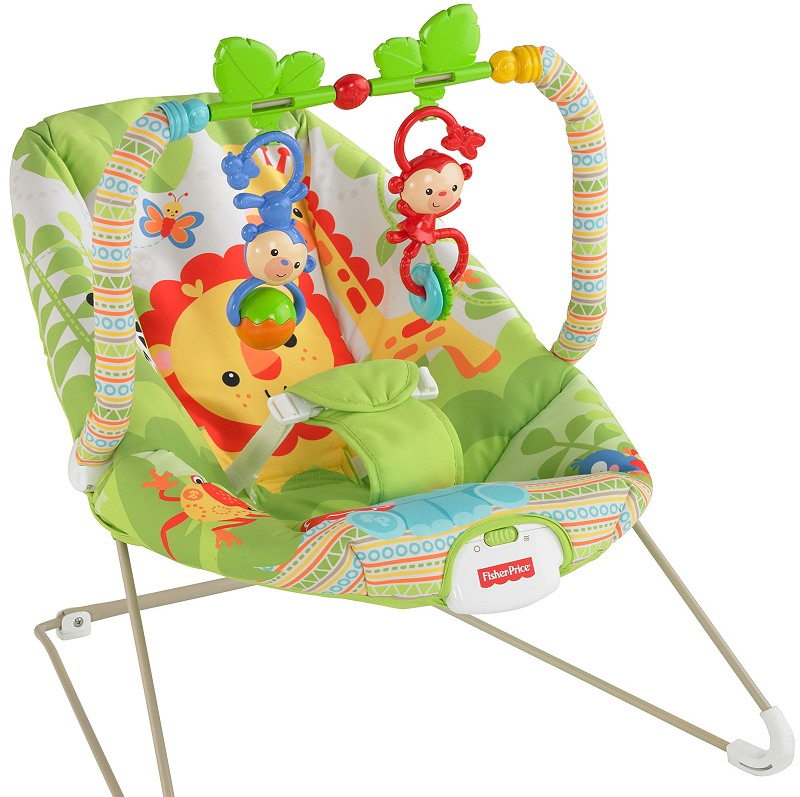fisher price rainforest bouncer baby wippe bcg46. Black Bedroom Furniture Sets. Home Design Ideas