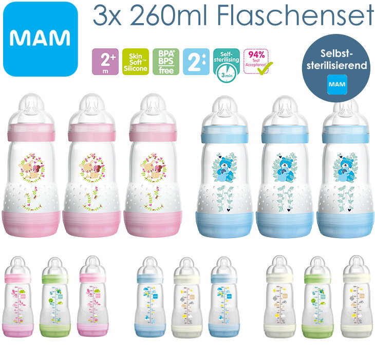 MAM 3 Stück 260ml Babyflaschen