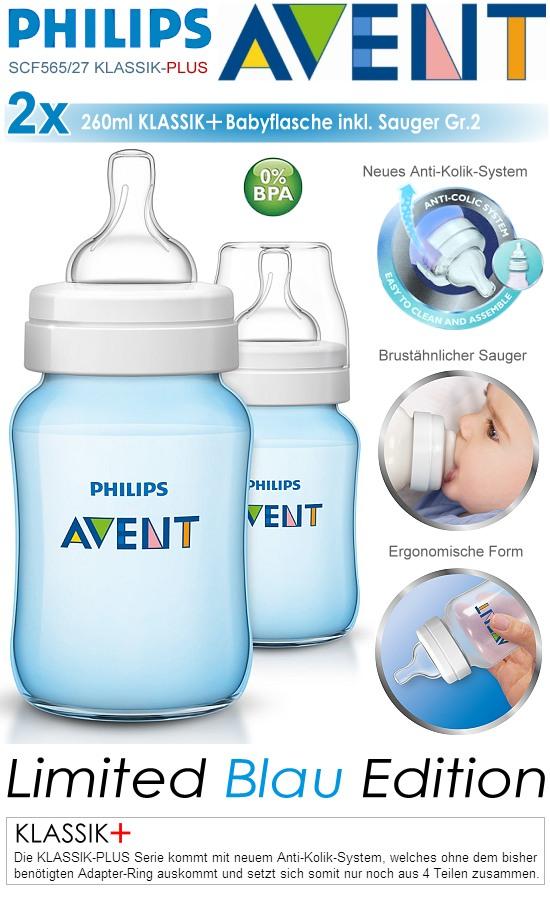 Philips Avent Klassik+ Babyflasche SCF565/27 blau