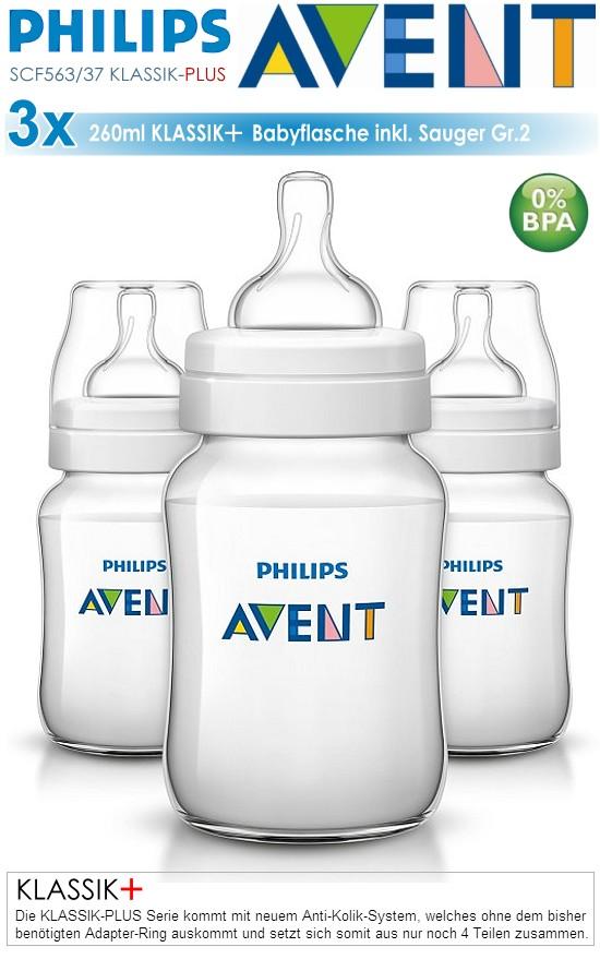 Philips Avent Klassik+ Babyflasche SCF563/37 blau