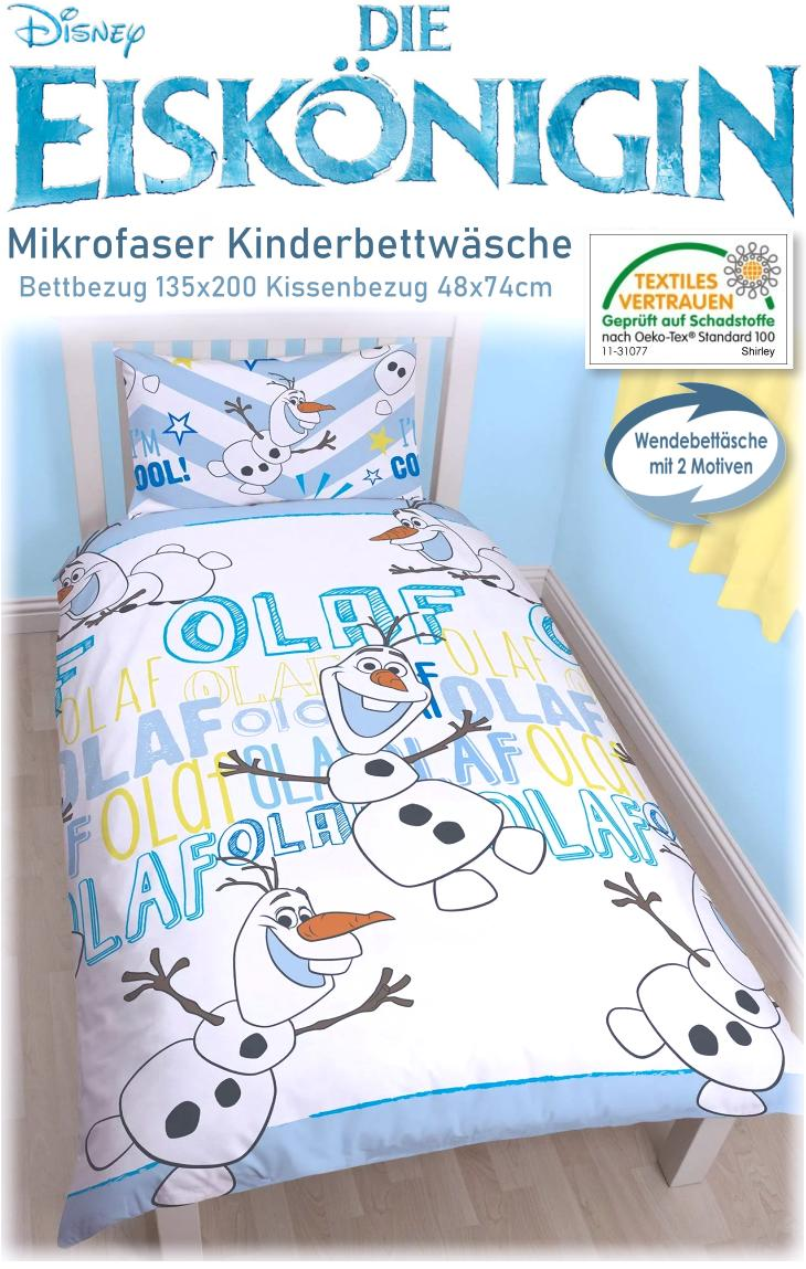 disney kinderbettw sche die eisk nigin bett kissenbezug olaf 669. Black Bedroom Furniture Sets. Home Design Ideas