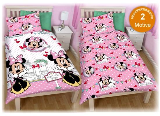 kinderbettw sche minnie mouse disney maus bettw sche bettbezug kissenbezug neu. Black Bedroom Furniture Sets. Home Design Ideas