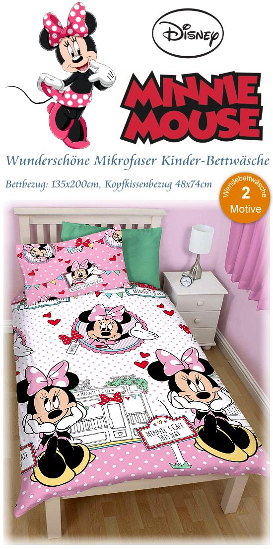 kinderbettw sche minnie mouse disney maus bettw sche. Black Bedroom Furniture Sets. Home Design Ideas