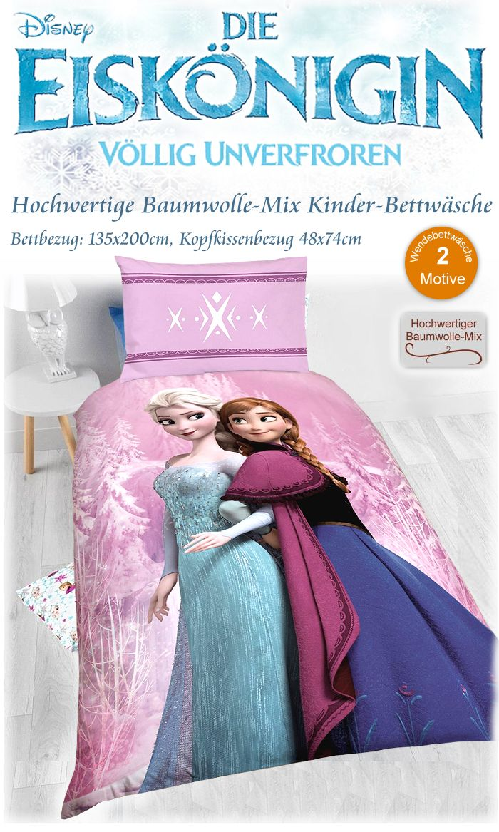 die eisk nigin kinder bettw sche baumwolle mix bettbezug kissenbezug elsa anna ebay. Black Bedroom Furniture Sets. Home Design Ideas