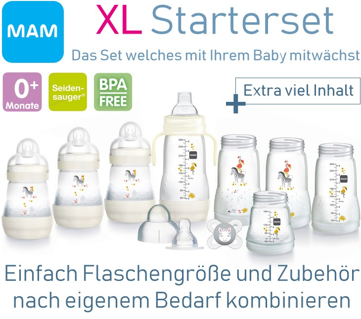 MAM: XL-Starterset Babyflaschen mit Zubehör