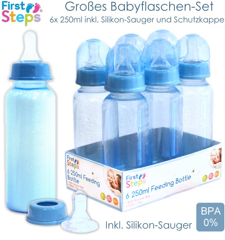 First Steps 6x 250ml Babyflasche blau