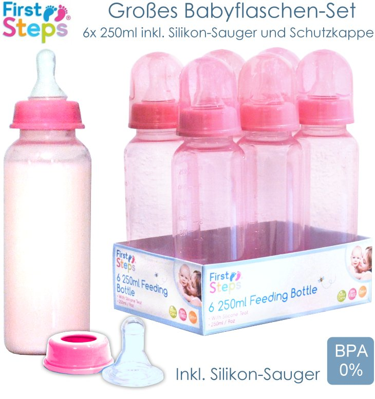 First Steps 6x 250ml Babyflasche rosa