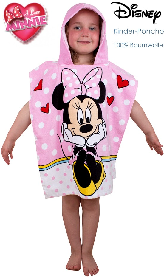 kinder poncho badeponcho mit kapuze disney minnie maus strand badetuch neu ebay. Black Bedroom Furniture Sets. Home Design Ideas