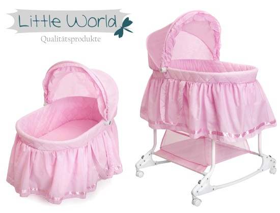 Little world babywiege stubenwagen babyschaukel rosa