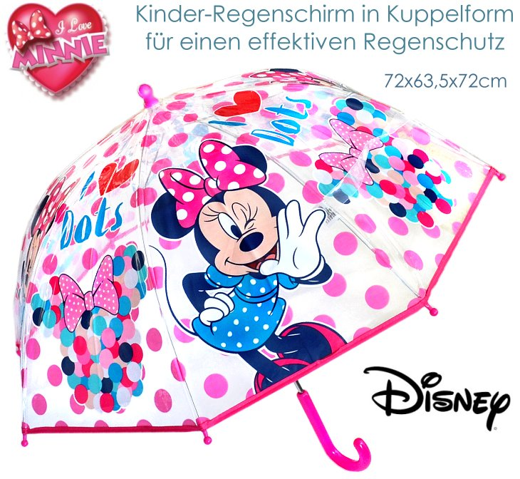 disney kinder regenschirm minnie maus rosa transparent m dchen mouse 72x63 neu ebay. Black Bedroom Furniture Sets. Home Design Ideas