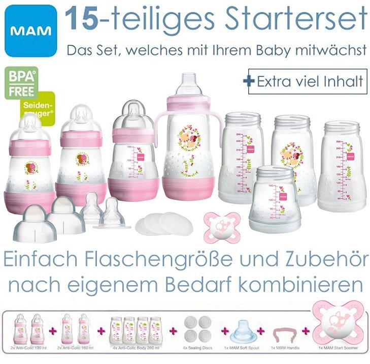 MAM: 15-tlg. Starterset Babyflaschen mit Zubehör