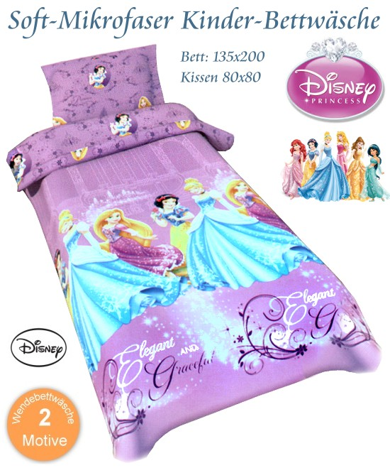 disney kinder bettw sche prinzessin bettbezug 135x200 kissen 80x80. Black Bedroom Furniture Sets. Home Design Ideas