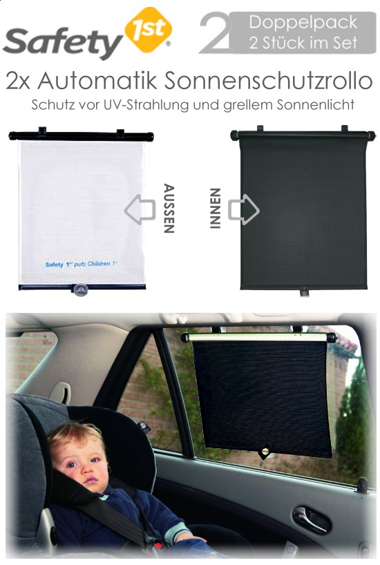 safety 1st 2x sonnenschutzrollo weiss auto seitenfenster baby kinder uv schutz ebay. Black Bedroom Furniture Sets. Home Design Ideas
