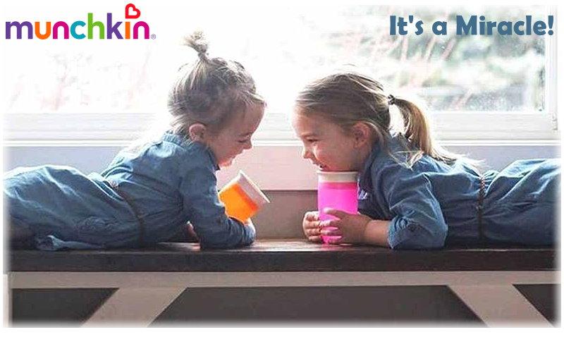 360° Kinder Trinkflasche 296ml Miracle Trinkbecher Auslaufsicher Lern Munchkin