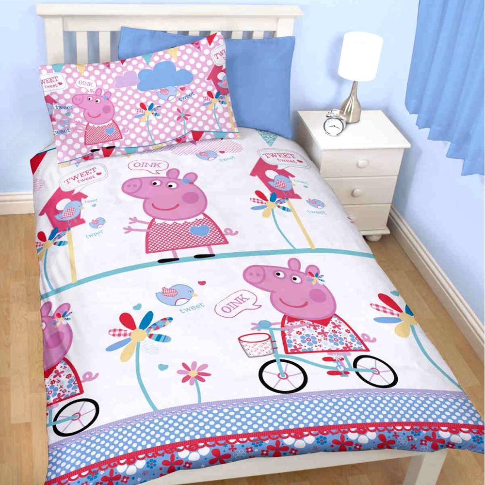 peppa pig kinder bettw sche peppa wutz bettbezug 135x200 48x74 kika schweinchen. Black Bedroom Furniture Sets. Home Design Ideas