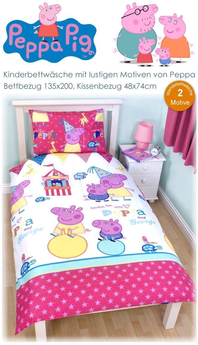 peppa pig kinder bettw sche peppa wutz bett 135x200 kissen 48x74 kika schwein ebay. Black Bedroom Furniture Sets. Home Design Ideas