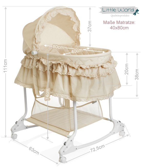 stubenwagen babyschaukel baby wiege kinder himmel bett komplett set beige neu ebay. Black Bedroom Furniture Sets. Home Design Ideas
