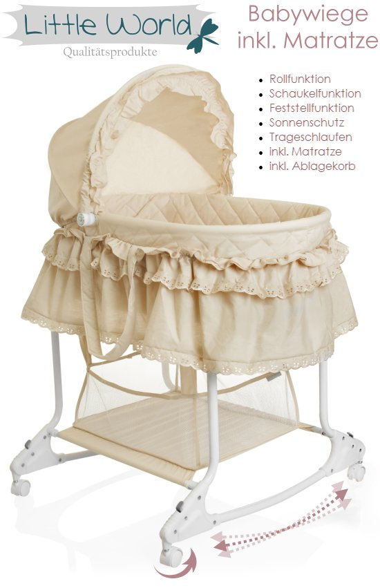 stubenwagen babyschaukel baby wiege kinder himmel bett komplett set beige neu ebay. Black Bedroom Furniture Sets. Home Design Ideas