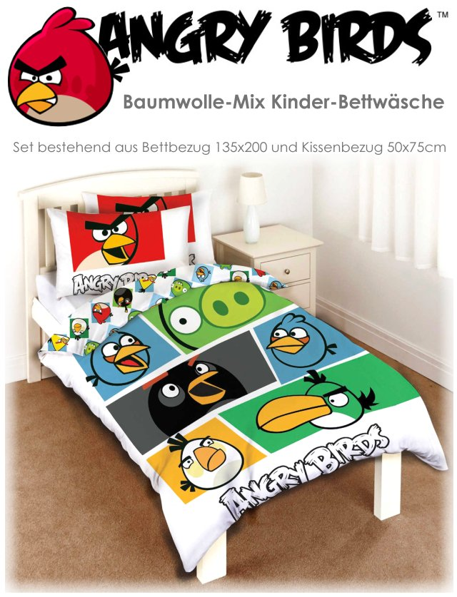 angry birds kinder bettw sche set 135x200. Black Bedroom Furniture Sets. Home Design Ideas